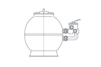 Filtro A Sabbia Piscina Con Valvola 6 Vie - Portata 43 Mc/h
